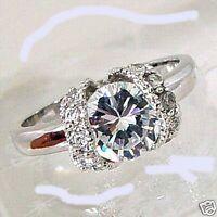 Round Side Stone Princess 18kt H.ge Cz Ring W/heart Shape Gift Box Sz 8 38