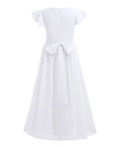 Girls Long Lace Dress Chiffon Gown Floor Length Dress Wedding Bridesmaid Flower