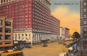 LOUISVILLE-KY-1937-Street-Scene-on-Broadway-with-Old-Cars-amp-Stores-VINTAGE-GEM