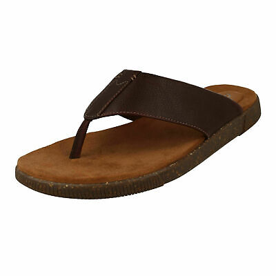Mens Leather Flip Flops Buy Clarks Vine Oak Toe Post For Men