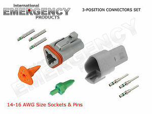 3-Pin-DT-Connectors-Set-Deutsch-14-16-AWG-Nickel-GA-Kit-Male-Female-Gray-OEM