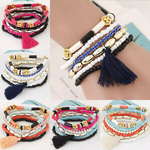 Hot-Fashion-Charm-Women-Elasticity-Bracelet-Tassel-Bangle-Jewelry