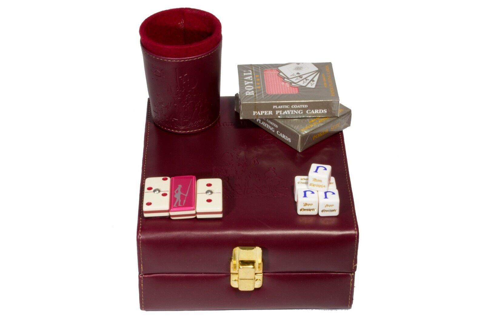 Don Quixote Deluxe Set 3 Games  Domino, Domino, Domino, Dice Cup, 2 Poker Cards. Burgundy bdc556