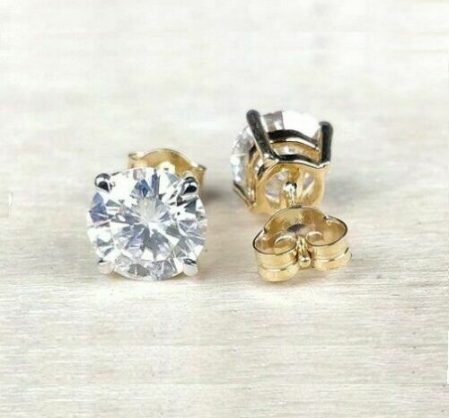 Details about  /1.20 CT Round Near White Color Moissanite Stud Earring in 14k Yellow Gold Over