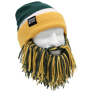 Green Bay Packers Green Yellow Knit Football Beard Ski Face Mask ... da58acf50ee