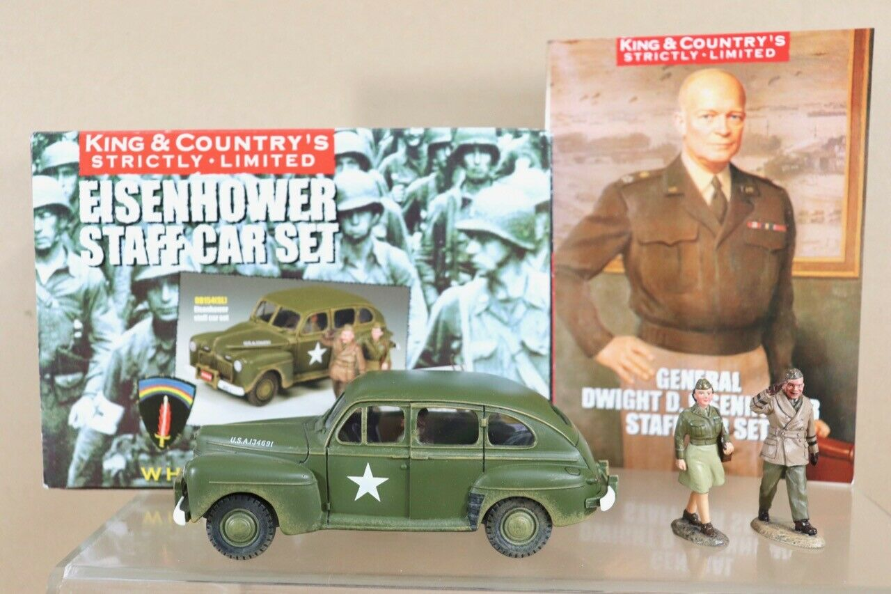 KING & COUNTRY COUNTRY DD154SL WWII AMERICAN D-DAY GENERAL EISENHOWER STAFF CAR SET nu
