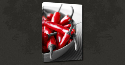 CHILI PEPPERS KITCHEN DESIGN WALL ART MANY COLOURS CANVAS PRINT PICTURE