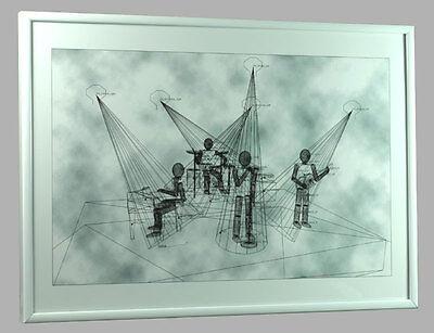 MARIO STRACK - The Band Wireframe A3 Grafik Gittermodell ltd.Grafik m.Alurahmen