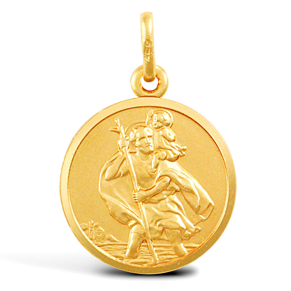 9CT gold SOLID ROUND ST CHRISTOPHER PENDANT Heavier 2.6g