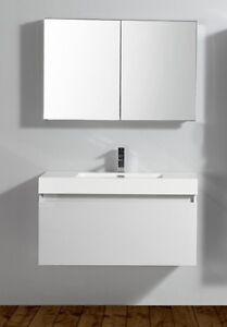 Meuble De Salle De Bain A1000 Basic Blanc Miroir Lavabo Et Meuble