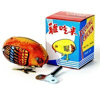 Wind Up Chick Tin Toy Pecking Bird Vintage Style Farm Animal Baby Chicken