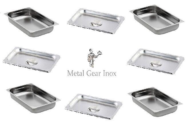 Bacs Gastronorme inox GN 1 1 ( 325 x 530 x 65 mm) et couvercles ( Lot de 4x4).