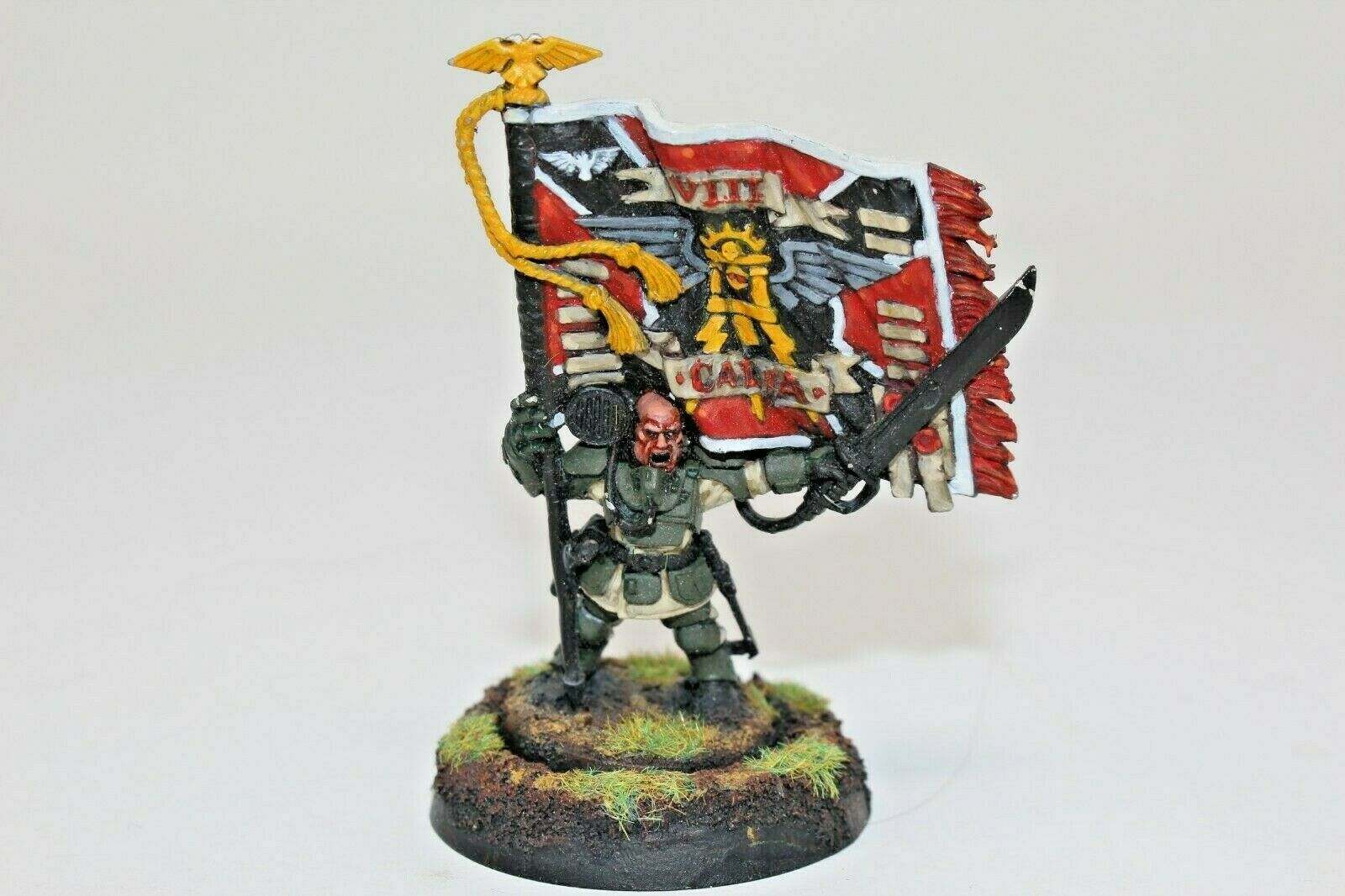Warhammer Imperial Guard Colour Sergeant Kell Well Painted Metal - JYS83