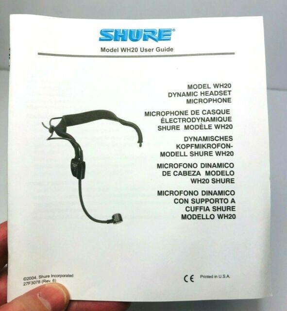 Amazon Com Shure Wh20xlr Dynamic Headset Microphone Manual Guide