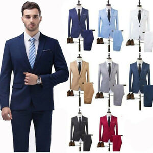 Custom-Made-Men-039-s-Slim-Fit-Suit-Business-Formal-Party-Tuxedos-Jacket-Pants-NEW