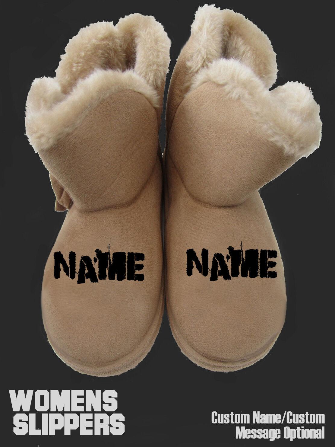 custom Damenss SLIPPERS t shirt hoodie personalised footwear gift xmas name