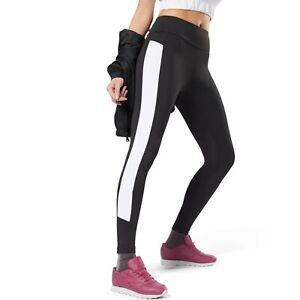 Reebok Classiques Femmes Couleur Bloc Leggings Noir Active Wear Dh1340 Ebay