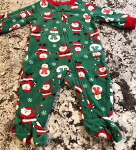 NWT-BABY-BOY-CHRISTMAS-FOOTED-PAJAMAS-SIZE-NEWBORN