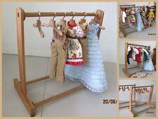"Handmade Wood Wooden Blythe Doll Clothes Display Rack (10x11"") & 6 Hangers Set"