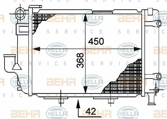 8MK 376 711-364 Hella Radiador Refrigeración de Motor