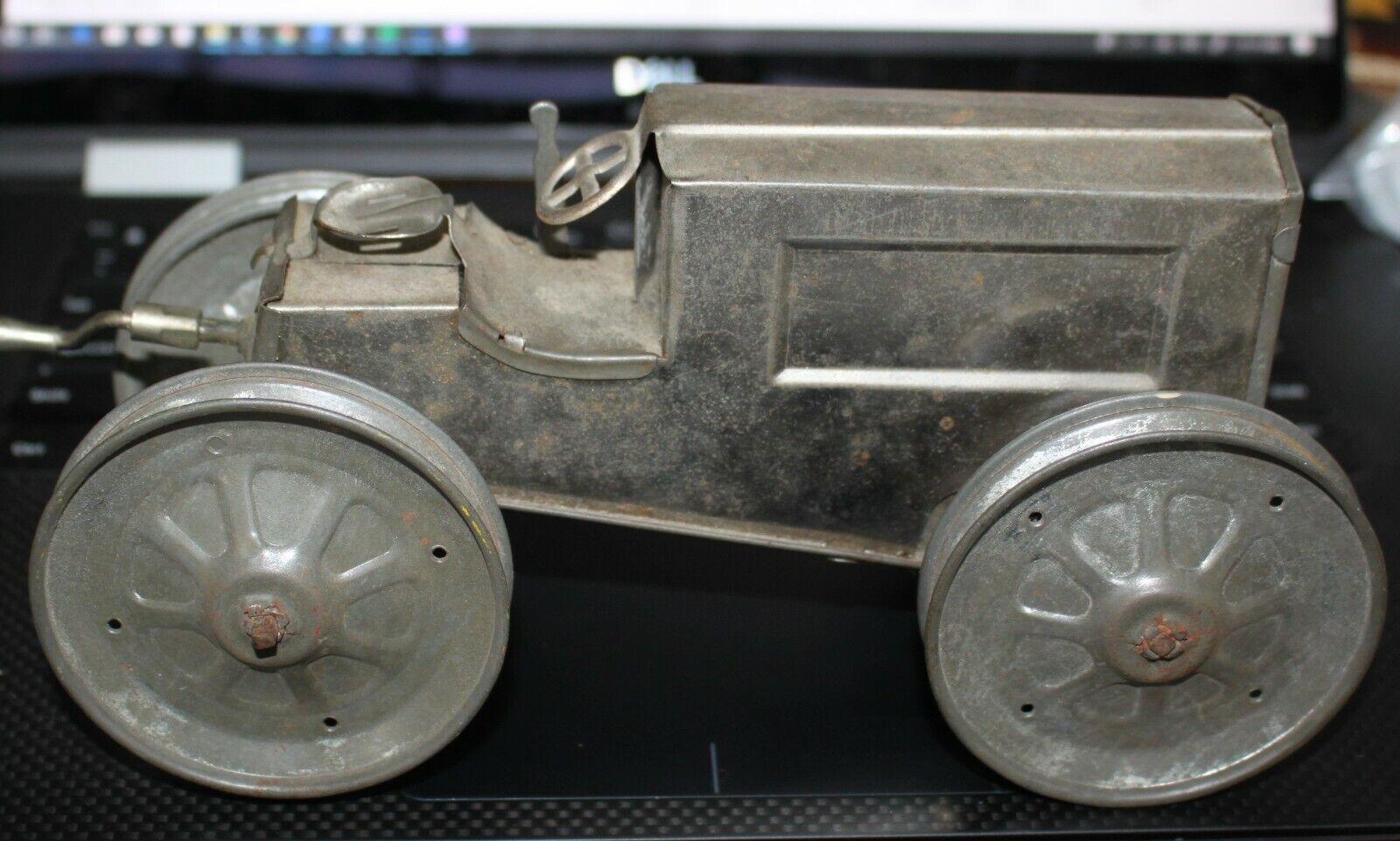 Gran Vintage pre-guerra animar mecanismo de relojería Estaño Níquel Plateado Wind Up Tractor 1916