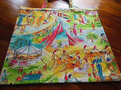 Zirkus - Patchworktasche aus Baumwollstoff 50 x 45 cm