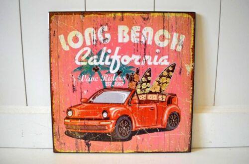 Bouclier bois Californie Nostalgie MDF voiture surf DECO Image Publicité 25x25cm