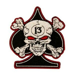 Skull Spade 13 Lucky Biker Motorcycle Iron on Embroidered Large Back patch XL