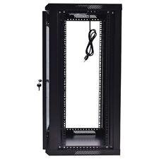 15U Wall Mount  Network Server Cabinet Data Enclosure Rack Glass Door Lock