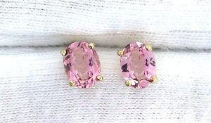 14Kt-8x6-8mm-x-6mm-Oval-AAA-Pink-Tourmaline-Gemstone-Gem-Stone-Earrings-EBS99EE5