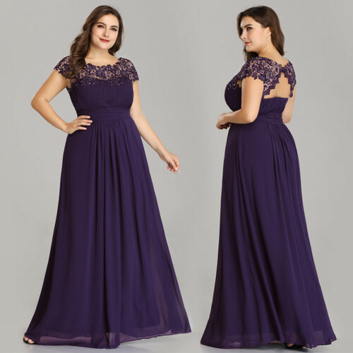 UK Ever-Pretty Plus Size Beaded Long Bridesmaid Dress Party Prom Dresses 09993