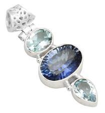 Blue Mystic Quartz Blue Topaz Gemstone Pendant Solid 925 Silver Jewelry IP28830