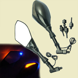 motorrad spiegel lenkerspiegel mit led blinker schwarz und. Black Bedroom Furniture Sets. Home Design Ideas
