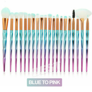 20PCS Diamond Unicorn Eyeshadow Eyebrow Blending Brush Set Eye Make-up Brushes