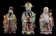 3 Sages Chinois Fuk Luk Sau Fu lu Shou 16cm Statuettes Porcelaine de Chine 8974