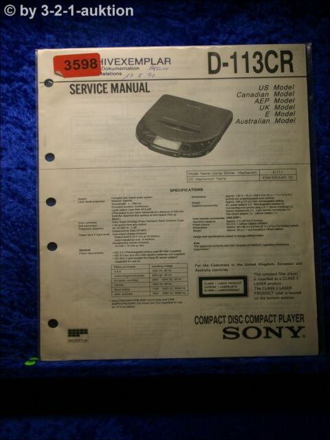 Sony Service Manual D 113cr Cd Player  3598