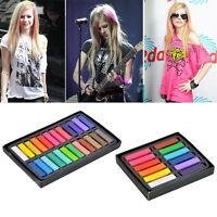 12 24 Colors Non-toxic Temporary Hair Chalk Dye Soft Pastels Salon Kit