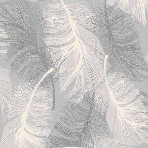 gesprenkelt grau feder tapete wei und silber glitzer by. Black Bedroom Furniture Sets. Home Design Ideas
