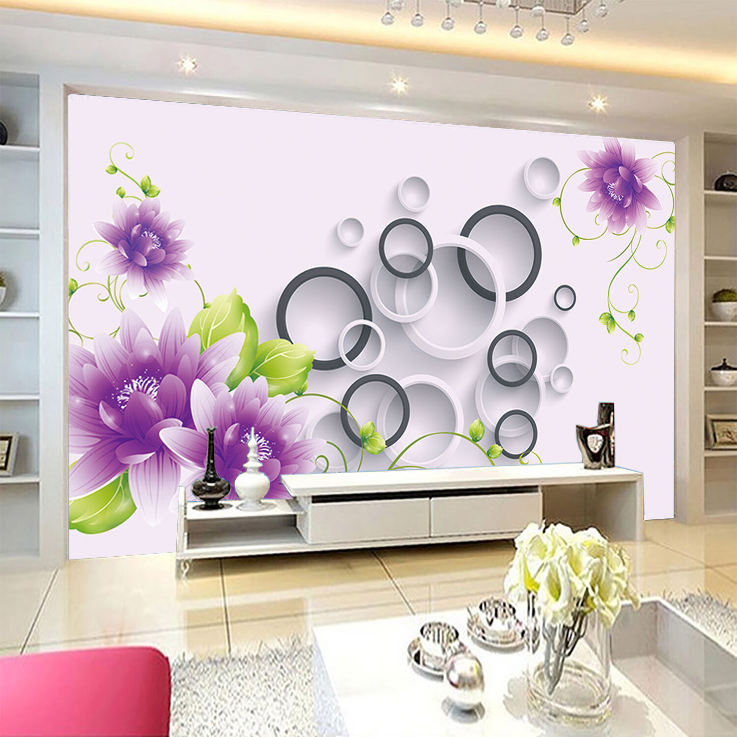 3D lila flowers 6076 Wall Paper Print Wall Decal Deco Indoor Wall Murals