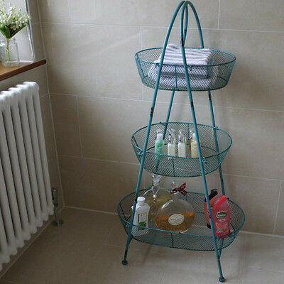 Blue Vintage 3 Tiers Shabby Chic Bathroom Utility Free standing Storage Baskets