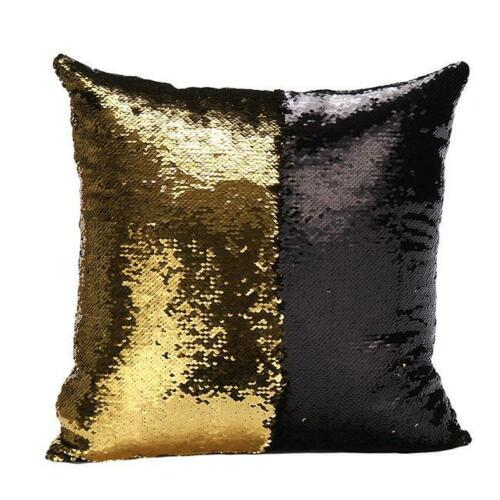 Reversible Mermaid Sequins Cushion Glitter Cover Throw Pillow Case CoverT