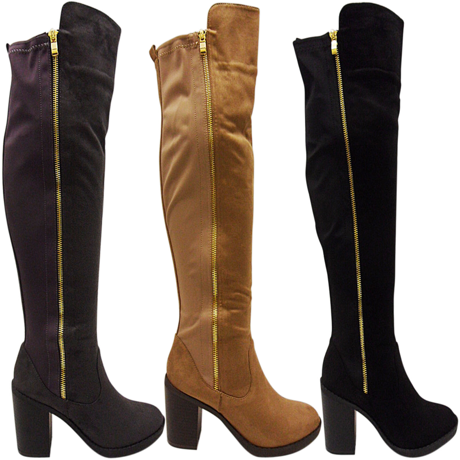 WOMENS LADIES OVER THE KNEE THIGH HIGH CHUNKY MID BLOCK HEEL BOOTS ELASTIC SIZE
