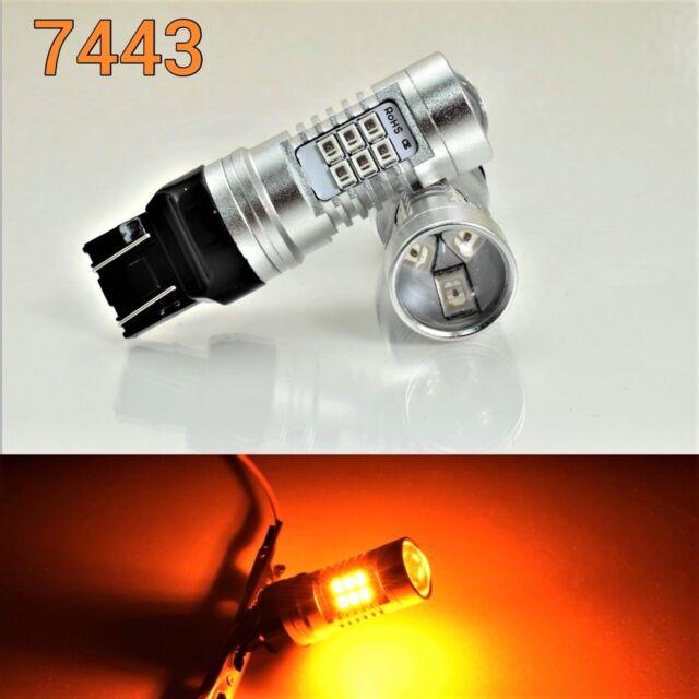 Brake Light T20 7443 7444 WY21W Amber 21 SMD LED Bulb B1
