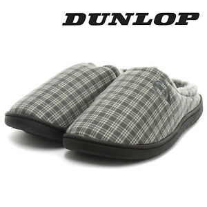Dunlop-Mens-Slippers-Slip-On-Mules-Fur-Lined-Warm-Fleece-Grey-Check-Sizes-6-12