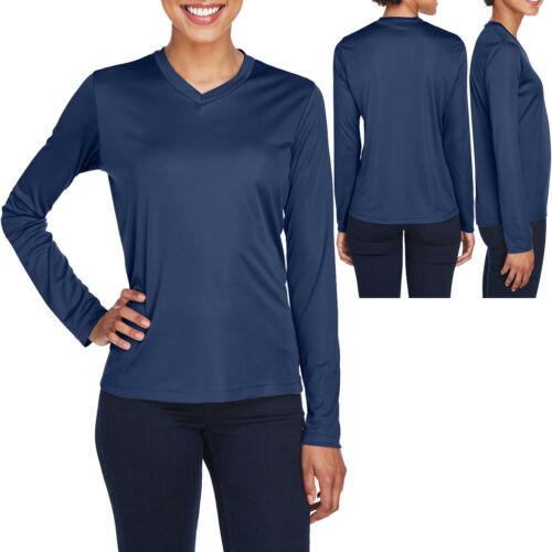 Ladies Long Sleeve T-Shirt Moisture Wicking V-Neck Base Layer Womens XS-XL 2X 3X