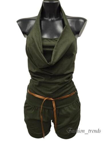Italy Neckholder Overall Shorts Jumpsuit Hotpants Einteiler Playsuit* 34 36 38