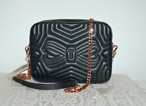 988055472594a9 NWT  195 TED BAKER Quilted Leather Camera Chain Bag Crossbody Black ...