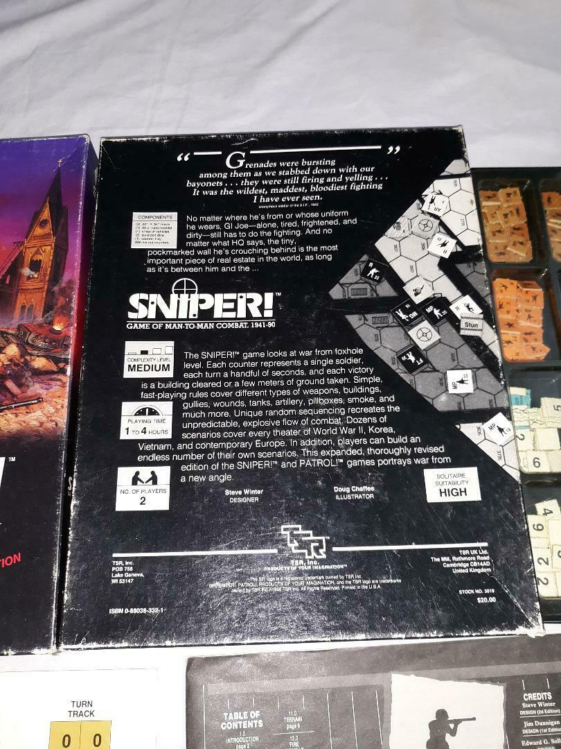 Sniper Board Game Game Game Vintage 1986 TSR 2nd Edition 09f239