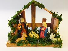 Small Nativity Christmas Display Set/Scene With Stable and 5 Porcelain Figures