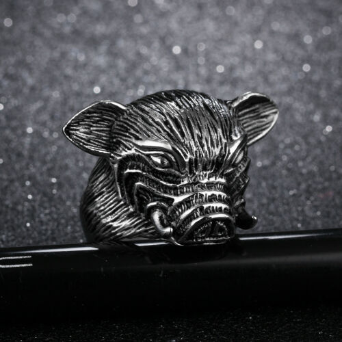 Details about  /Men Stainless Steel Pig Head Necklace Pendant Men/'s Gothic Jewelry 26MM